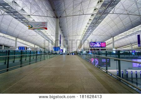 Hong Kong - circa March 2017: Entrance area of Hong Kong International Airport. It is the main airport in Hong Kong. The airport is located on the island of Chek Lap Kok