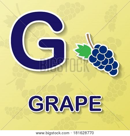 Grapes symbol with letter G and word