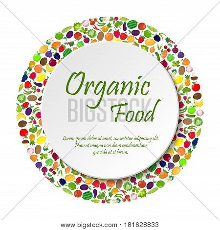 Fruit and vegetables in circle shape with text