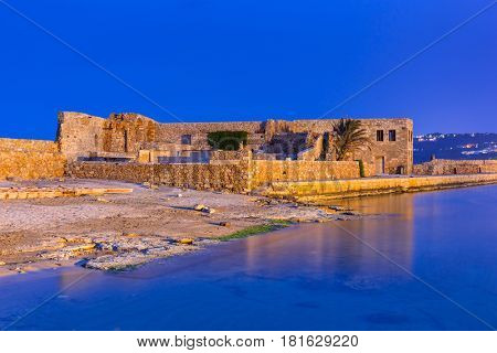 Ruins of the old Venetian port of Chania on Crete, Greece