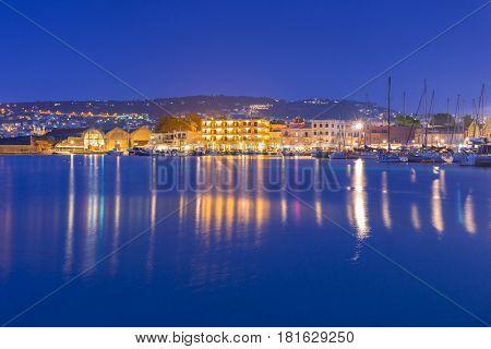 Old Venetian port of Chania at night, Crete. Greece