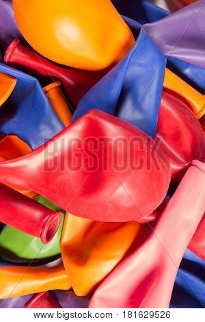 This is a photograph of deflated Helium Balloons