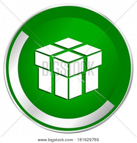 Box silver metallic border green web icon for mobile apps and internet.