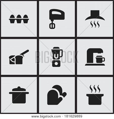 Set Of 9 Editable Meal Icons. Includes Symbols Such As Soup Pot, Agitator, Kitchen Glove And More. Can Be Used For Web, Mobile, UI And Infographic Design.
