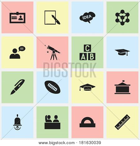 Set Of 16 Editable Graduation Icons. Includes Symbols Such As Thinking Man, Alphabet Cube, Semicircle Ruler And More. Can Be Used For Web, Mobile, UI And Infographic Design.