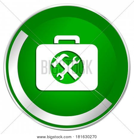 Toolkit silver metallic border green web icon for mobile apps and internet.