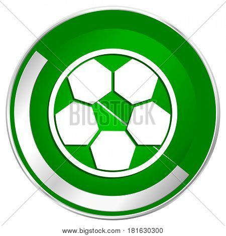 Soccer silver metallic border green web icon for mobile apps and internet.
