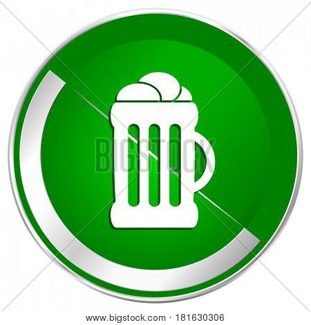 Beer silver metallic border green web icon for mobile apps and internet.