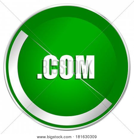 Com silver metallic border green web icon for mobile apps and internet.