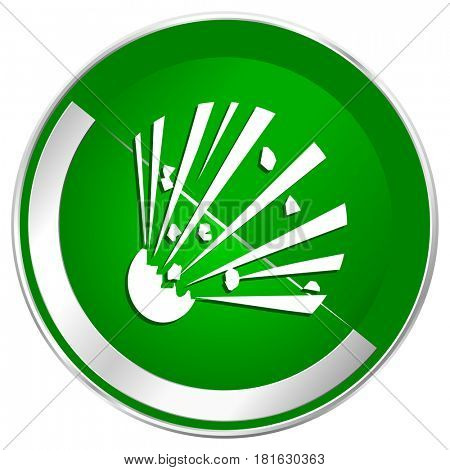 Bomb silver metallic border green web icon for mobile apps and internet.