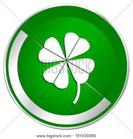 Four-leaf clover silver metallic border green web icon for mobile apps and internet.