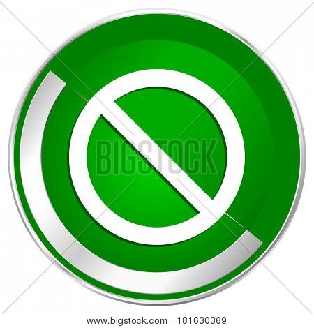Access denied silver metallic border green web icon for mobile apps and internet.