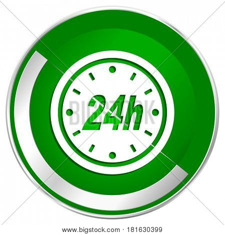 24h silver metallic border green web icon for mobile apps and internet.