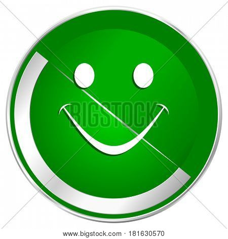 Smile silver metallic border green web icon for mobile apps and internet.