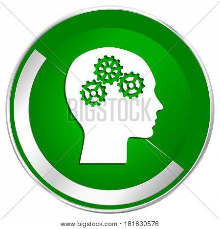 Head silver metallic border green web icon for mobile apps and internet.