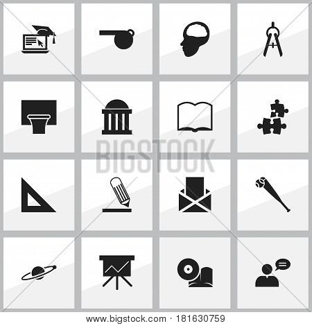 Set Of 16 Editable University Icons. Includes Symbols Such As Astrology, Courtroom, Cerebrum And More. Can Be Used For Web, Mobile, UI And Infographic Design.