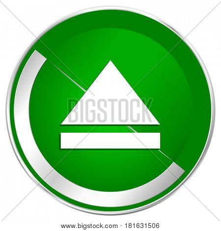 Eject silver metallic border green web icon for mobile apps and internet.