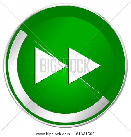 Rewind silver metallic border green web icon for mobile apps and internet.