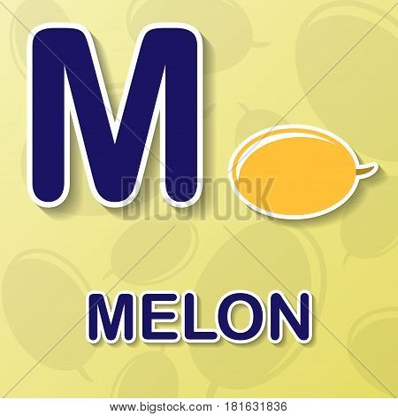 Melon symbol with letter M and word