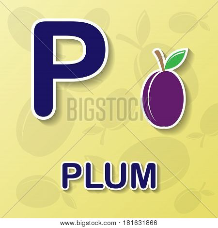 Plum symbol with letter P and word