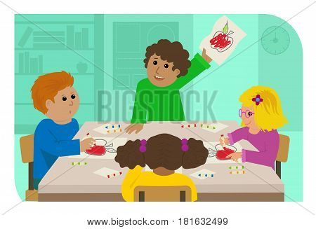 Elementary kids are sitting around the table and coloring a picture of an apple. Eps10