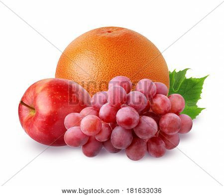 grapefruit Apple and bunch of grapes with leaves with shadow isolated on white background. bunch of fruit.