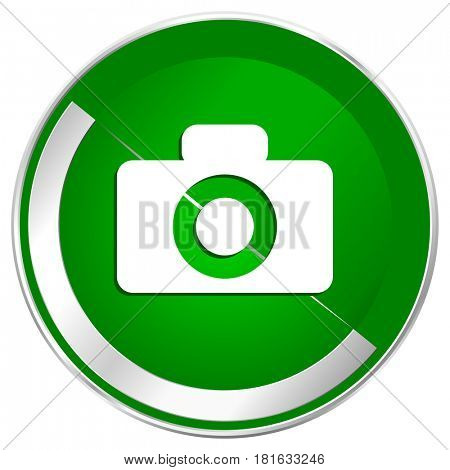 Camera silver metallic border green web icon for mobile apps and internet.