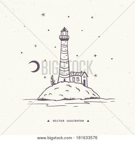 Beautiful hand drawn illustration with view island with lighthouse and home. Vector illustration, sketch.