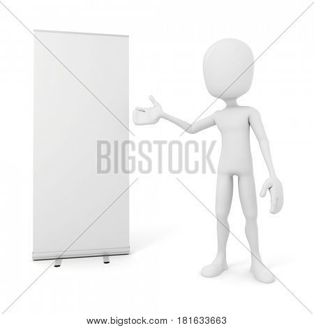 3d man and blank roll-up on white background