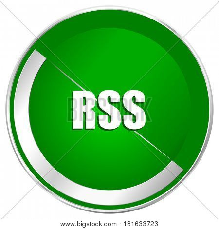 Rss silver metallic border green web icon for mobile apps and internet.