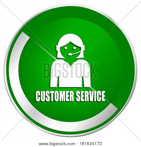 Customer service silver metallic border green web icon for mobile apps and internet.