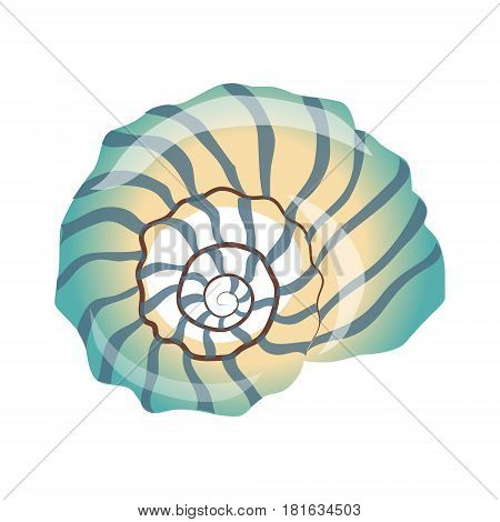 Beautiful blue seashell, an empty shell of a sea mollusk. Colorful cartoon illustration isolated on a white background