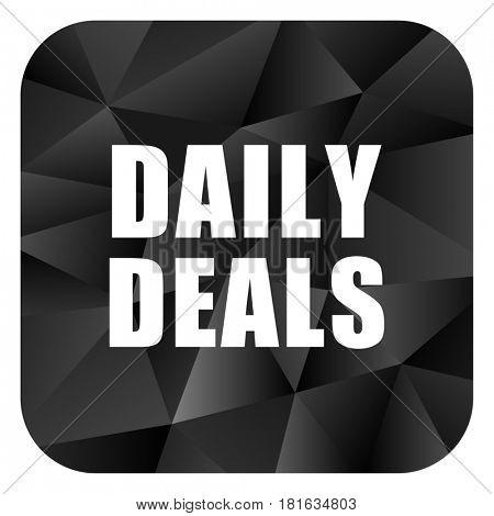 Daily deal black color web modern brillant design square internet icon on white background.