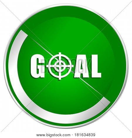 Goal silver metallic border green web icon for mobile apps and internet.