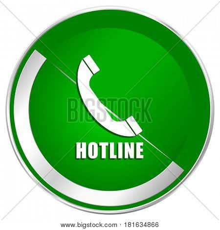 Hotline silver metallic border green web icon for mobile apps and internet.