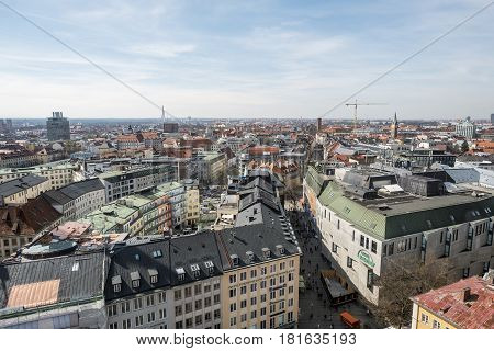 Aerial Views Of Munich From The Clock Tower Of The Town Hall In The Marienplatz