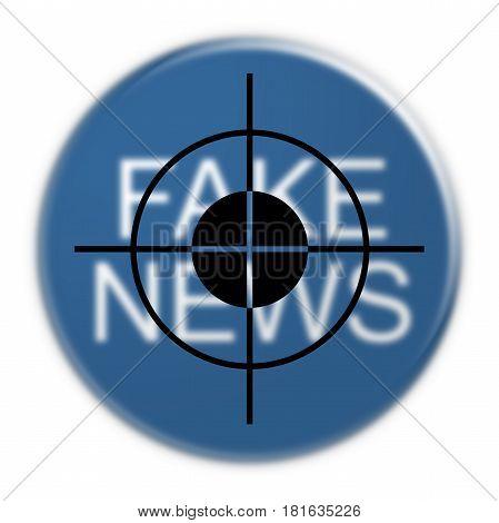 Social Network Concept Badge: Fake News In Focus 3d illustration