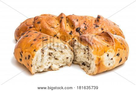 Bun with chocolate drops isolated on white background