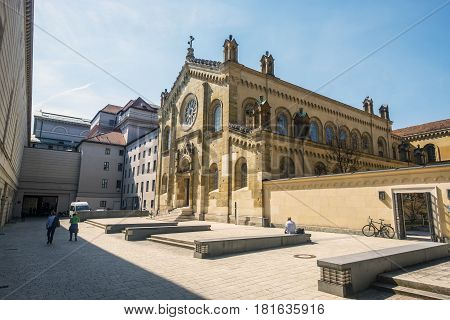 Munich Bavaria Germany.- March 29 2017. Allerheiligen-Hofkirche church between residenz street and Alfons-Goppel street. It is currently a concert and conference hall