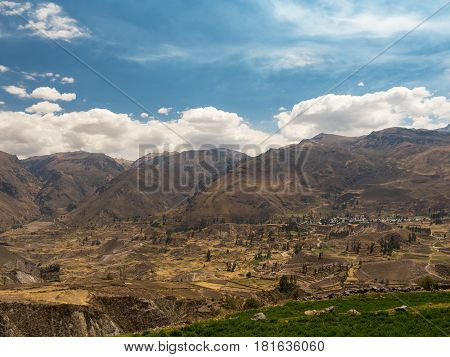 Panoramic view of Colca Canyon in Peru, one of the deepest canyon in the world.