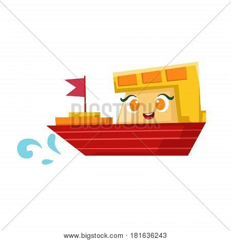 Red And Orange Cargo Ship, Cute Girly Toy Wooden Boat With Face Cartoon Illustration. Funny Isolated Water Transportation Character With Big Eyes And Smile.