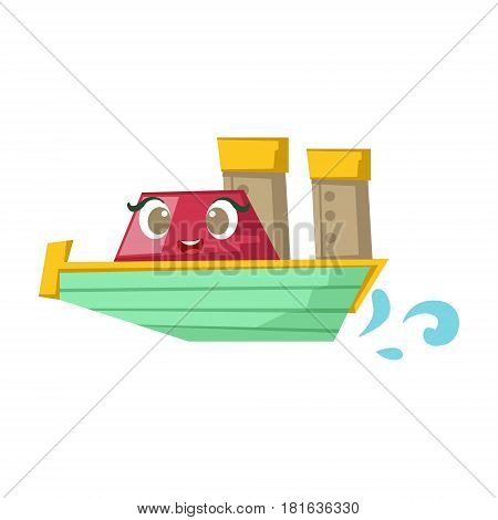 Green And Red Cruise Liner Boat, Cute Girly Toy Wooden Ship With Face Cartoon Illustration. Funny Isolated Water Transportation Character With Big Eyes And Smile.