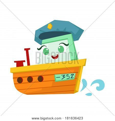 River Patrol Orange Boat, Cute Girly Toy Wooden Ship With Face Cartoon Illustration. Funny Isolated Water Transportation Character With Big Eyes And Smile.