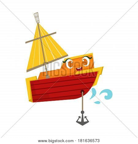 Orange And Red Sailing Boat With An Anchor, Cute Girly Toy Wooden Ship With Face Cartoon Illustration. Funny Isolated Water Transportation Character With Big Eyes And Smile.