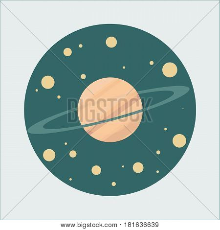 Illustration of a cartoon planet in the flat style. Colored.
