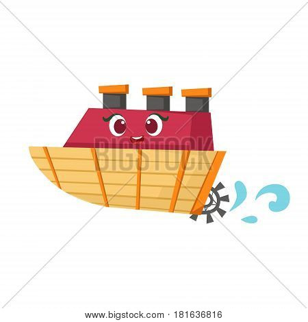 Little Paddle Retro Steamer Boat, Cute Girly Toy Wooden Ship With Face Cartoon Illustration. Funny Isolated Water Transportation Character With Big Eyes And Smile.