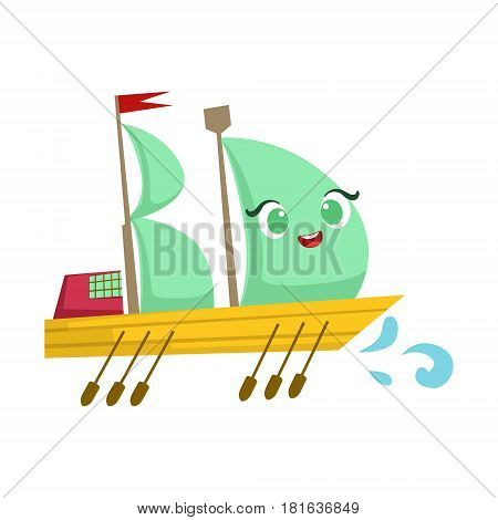 Sailing Big Boat With Paddles, Cute Girly Toy Wooden Ship With Face Cartoon Illustration. Funny Isolated Water Transportation Character With Big Eyes And Smile.
