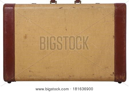 Side view of an old suitcase with leather and a woven texture