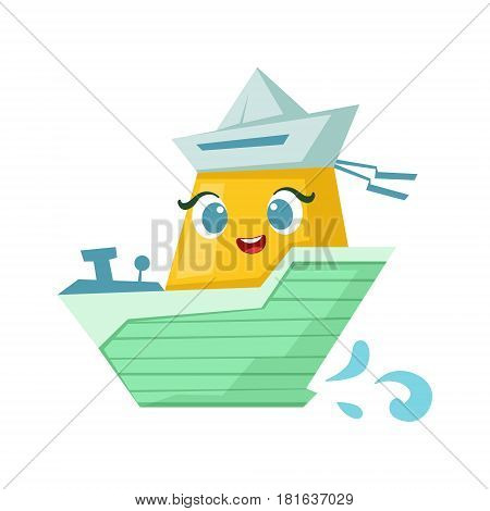 Green And Yellow Milintary Boat, Cute Girly Toy Wooden Ship With Face Cartoon Illustration. Funny Isolated Water Transportation Character With Big Eyes And Smile.