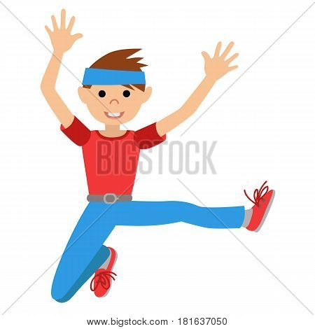 Boy dancing in class, vector illustration isolated on whote background